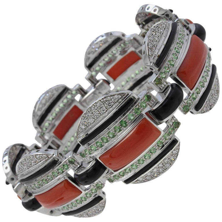 Perfect Natural Coral Tsavorite Diamond Onyx Link Bracelet