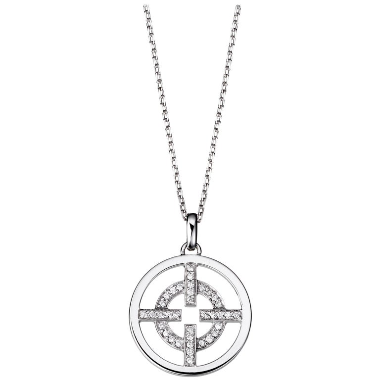 Akillis Licence to Akillis S Pendant 18 Karat White Gold Half Set White Diamonds