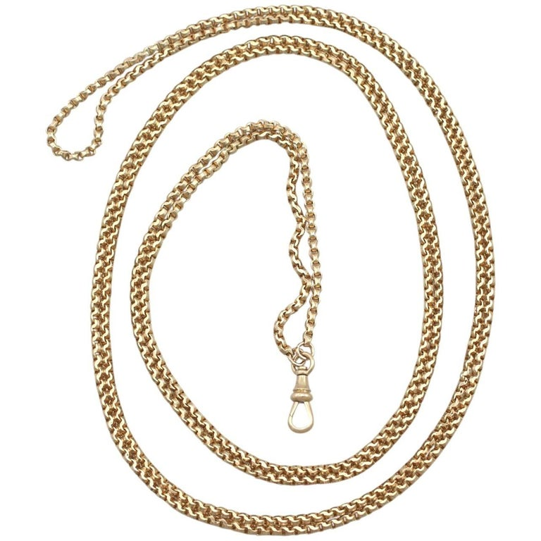 1890s Antique Victorian Yellow Gold Longuard Chain