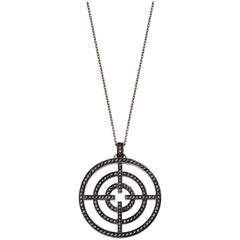 Akillis Licence to Akillis M Pendant 18 Karat White Gold Black Diamonds