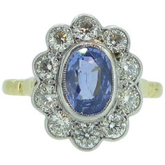 Vintage Sapphire and Diamond Engagement Ring, Cluster Style in 18 Carat Gold