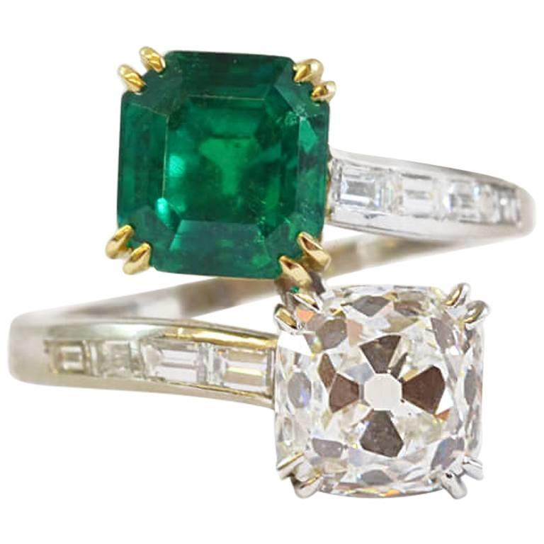 Columbian Emerald and Diamond Crossover Ring