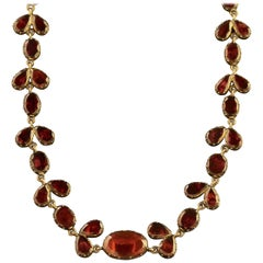 Antique Georgian 18 Carat Gold Flat Cut Garnet Riviere Necklace, circa 1790