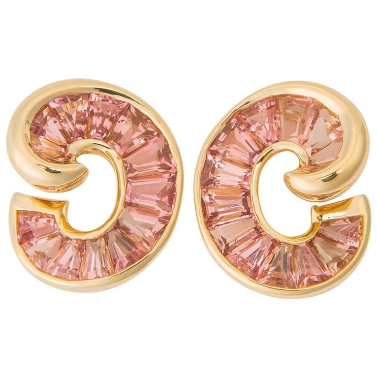 Verdura Tourmaline Crescent Earrings