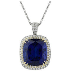 Untreated 24.16 Carat Cushion-Cut Tanzanite Pendant