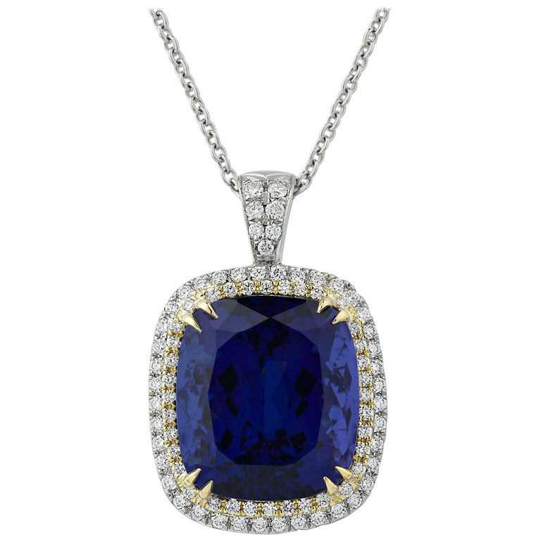 Untreated 24.16 Carat Cushion-Cut Tanzanite Pendant For Sale