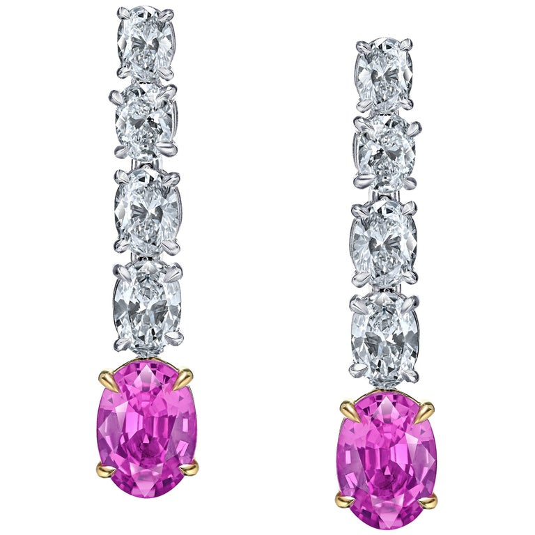 Oval Pink Sapphire and Diamond Platinum Drop Earrings
