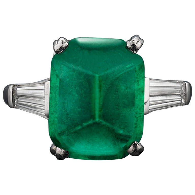 Oscar Heyman 7.00 carat Sugar Loaf Emerald Ring For Sale