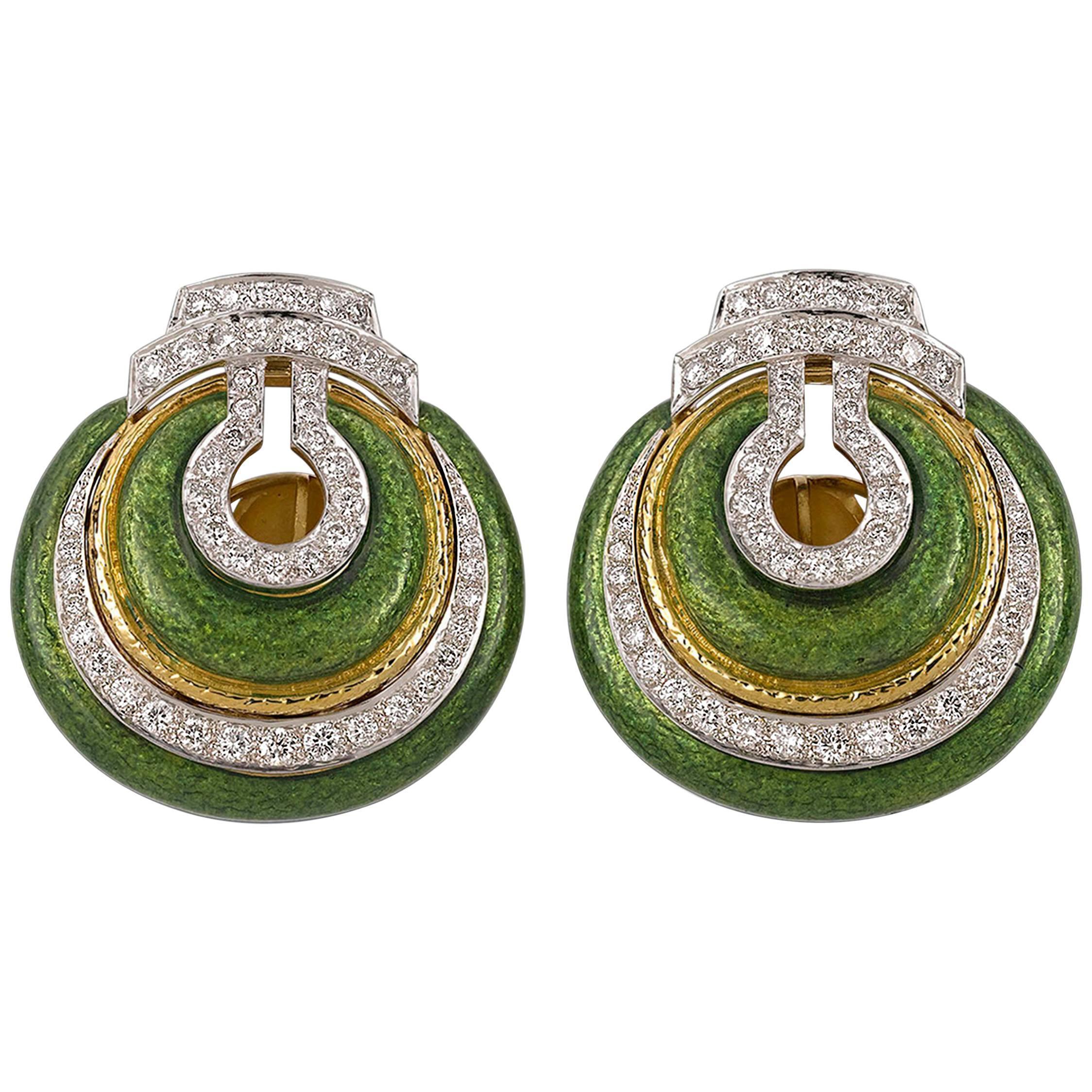 David Webb Enamel and Diamond Earrings