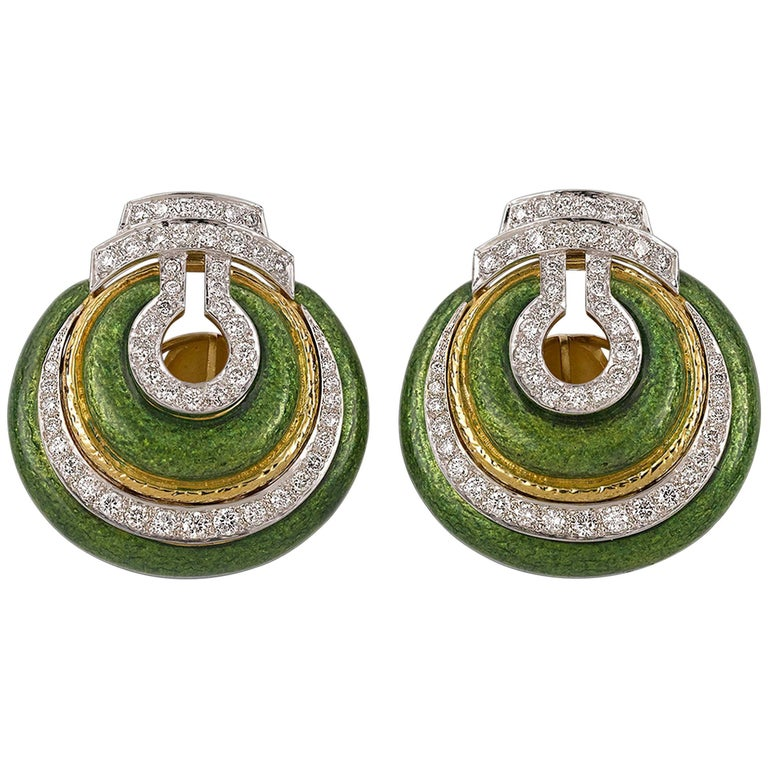 David Webb Enamel and Diamond Earrings