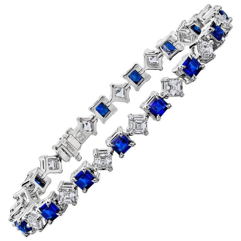 Square Emerald Cut Blue Sapphire and Diamond Platinum Bracelet
