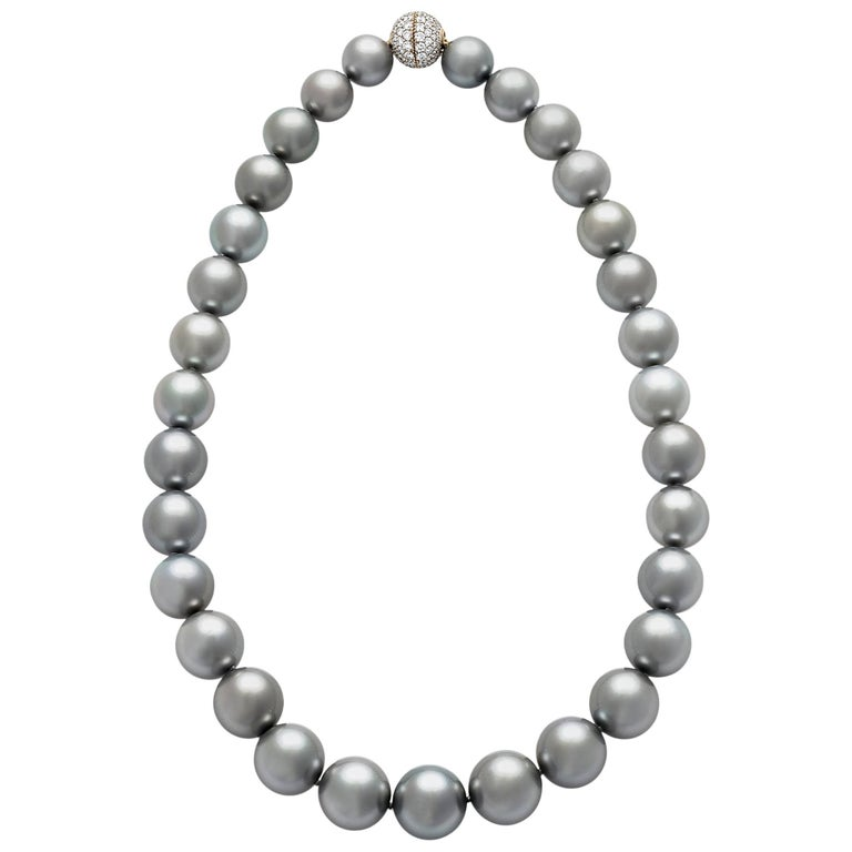 Tahitian Silver Pearl Necklace