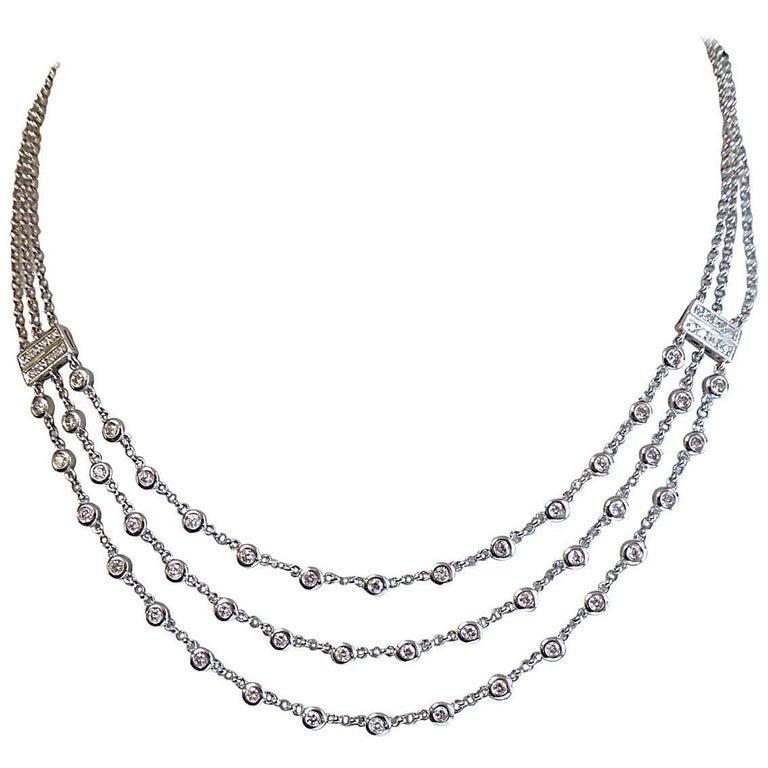 1.69 Carat Contemporary Diamond Necklace, 18 Carat White Gold, Hallmarked 2002