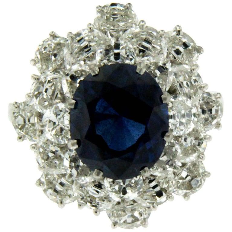 3.40 Carat Sapphire Diamond Platinum Ring For Sale