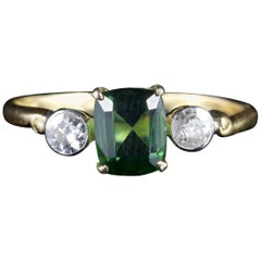 Antique Victorian Green Tourmaline Diamond Ring 18 Carat Gold