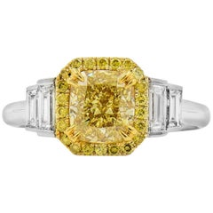 GIA White and Yellow Gold Fancy Yellow and White Diamond Ring