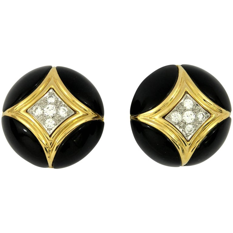 Van Cleef & Arpels Onyx and Diamond Gold Earrings