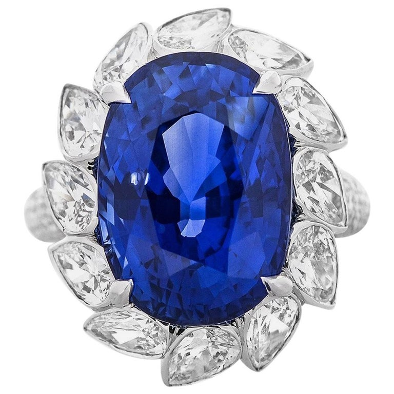 GRS White Gold Sapphire and Diamond Cocktail Ring