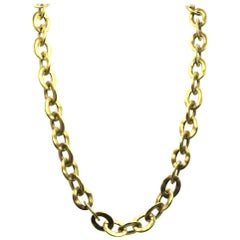 Pomellato 18 Karat Satin Finish Gold Link Chain Necklace