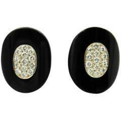 Van Cleef & Arpels Elongated Oval Earrings with Diamonds and Onyx
