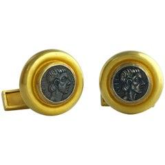Greek Antique Revival 22 Karat Yellow Gold Cufflinks