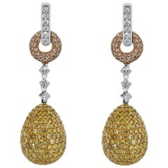 Multicolored Diamond Drop Earrings