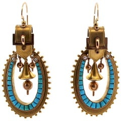 Antique Victorian 18 Karat Gold Turquoise Pendant Earrings