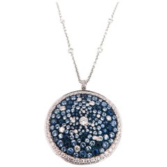 Round Multi-Color Sapphire and Diamond White Gold Pendant