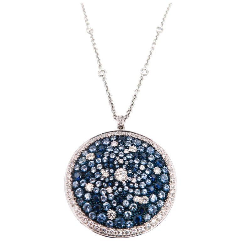 Round Multi-Color Sapphire and Diamond White Gold Pendant 1