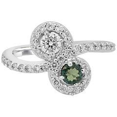 Alexandrite Diamond Two-Stone Halo Gold Ring