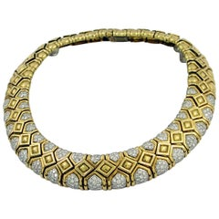 David Webb Hammered Gold and Diamond Necklace