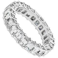 4.69 Carat Emerald Cut Diamond Platinum Eternity Band Size 6.25