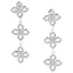 1.10 Carats Total Diamond Dangle 18K White Gold Earrings