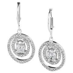 1.09 Carats Total Diamond Dangle Platinum Earrings