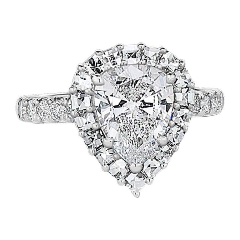 GIA Certified 2.39 Carat Pear Shape Diamond Platinum Engagement Ring