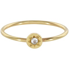 Ellie Air Orrery Keeper Stacking Gold 0.05 Carat Diamond Ring