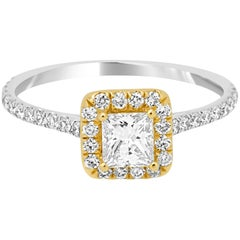 Princess Cut Diamond Halo Two-Color Gold Bridal Fashion Cocktail Ring