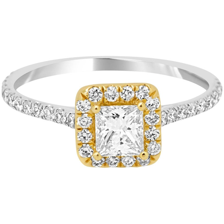 Princess Cut Diamond Halo Two-Color Gold Engagement Ring