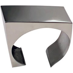 Modernist Sterling Silver Bangle Rectangular Form, Probably Danish, circa 1960