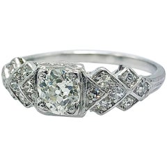 Antique .43 Carat Diamond Engagement Ring Platinum