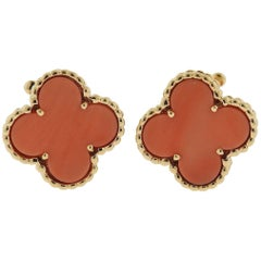 Van Cleef & Arpels Vintage Alhambra Coral Gold Earrings