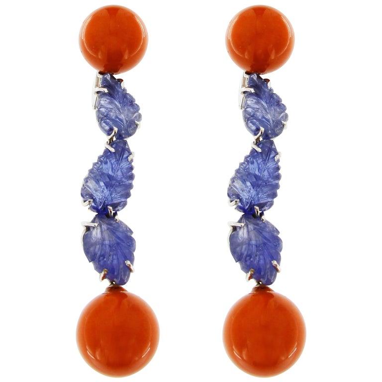 Jona Mediterranean Coral Blue Sapphire 18k White Gold Pendant Earrings