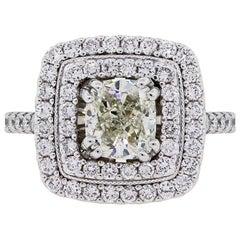 1 Carat Cushion Cut Diamond Double Halo Engagement Ring