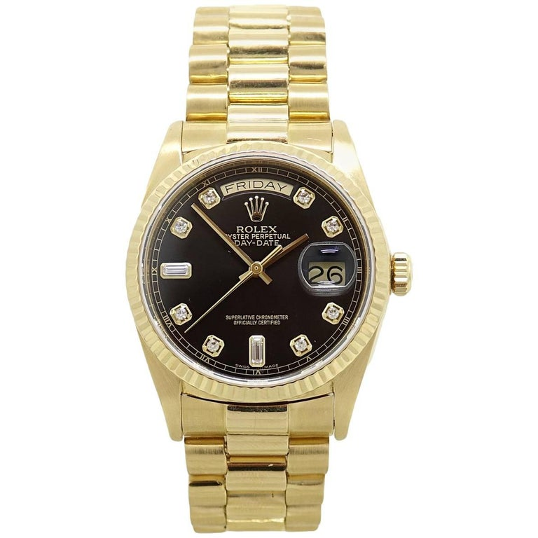 Rolex Yellow Gold President Day Date Black Dial Automatic Wristwatch For Sale