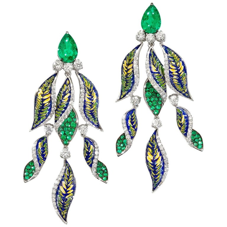 Diamonds Emeralds Green Micromosaic Earrings For Sale