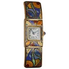 Art Deco Ladies Yellow Gold Enamel Jazz Style Manual Wind Wristwatch