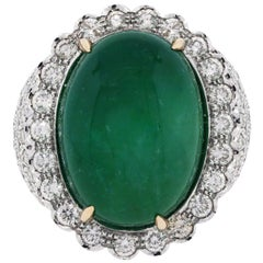 30 Carat Cabochon Emerald and Diamond Cocktail Ring