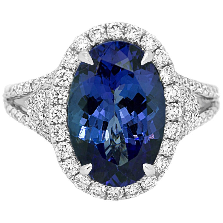 Tanzanite Diamond Halo Gold Cocktail Ring