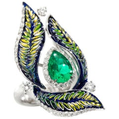 Cocktail Ring White Gold White Diamonds Pear Emerald Hand Decorated Micromosaic