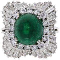 6.08 Carat Emerald and Diamond Ballerina Ring